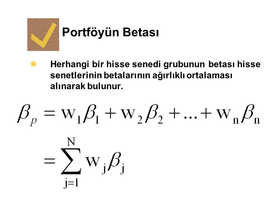 Portföyün Betası Herhangi bir hisse senedi grubunun betası hisse senetlerinin betalarının ağırlıklı ortalaması alınarak bulunur.