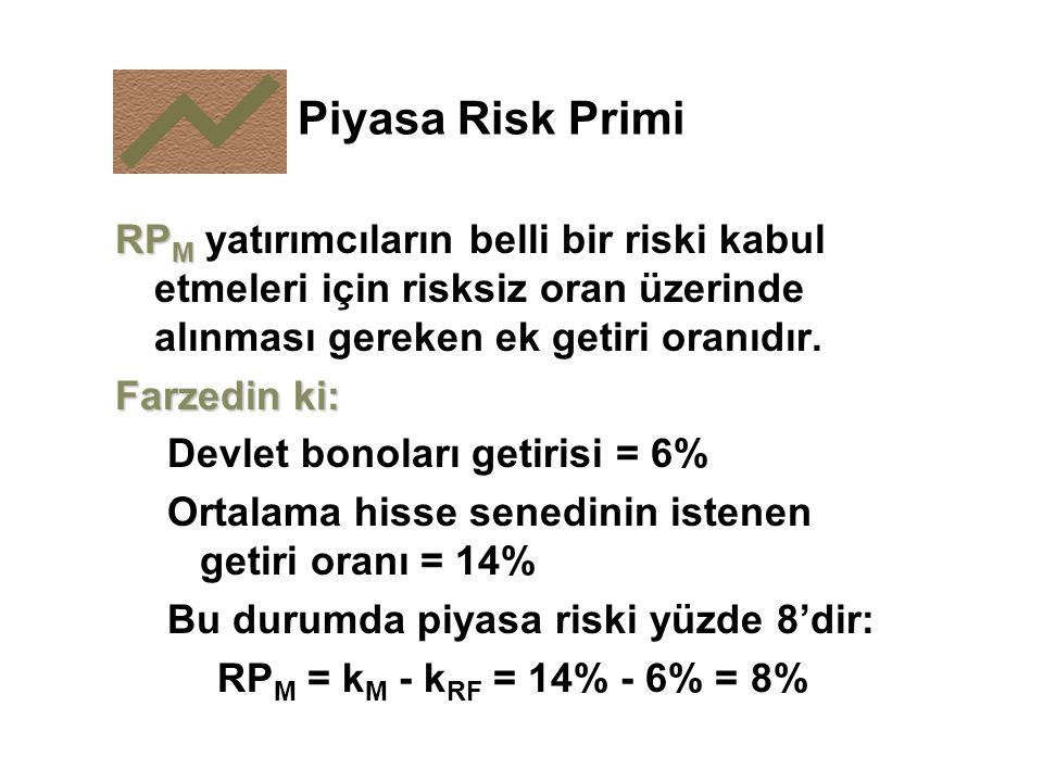 Piyasa Risk Primi RPM yatırımcıların belli bir riski kabul etmeleri için risksiz oran üzerinde alınması gereken ek getiri oranıdır.