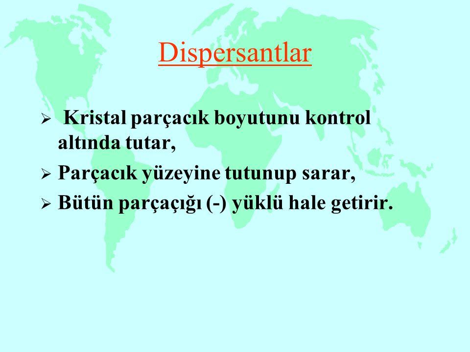 Dispersantlar Kristal parçacık boyutunu kontrol altında tutar,