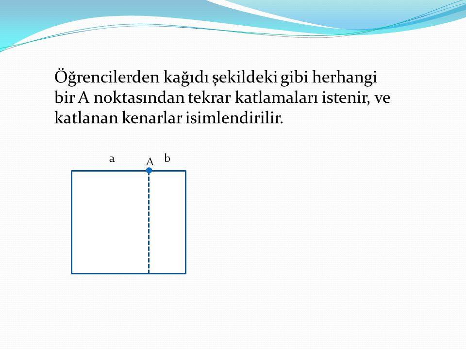 Öğrencilerden kağıdı şekildeki gibi herhangi bir A noktasından tekrar katlamaları istenir, ve katlanan kenarlar isimlendirilir.