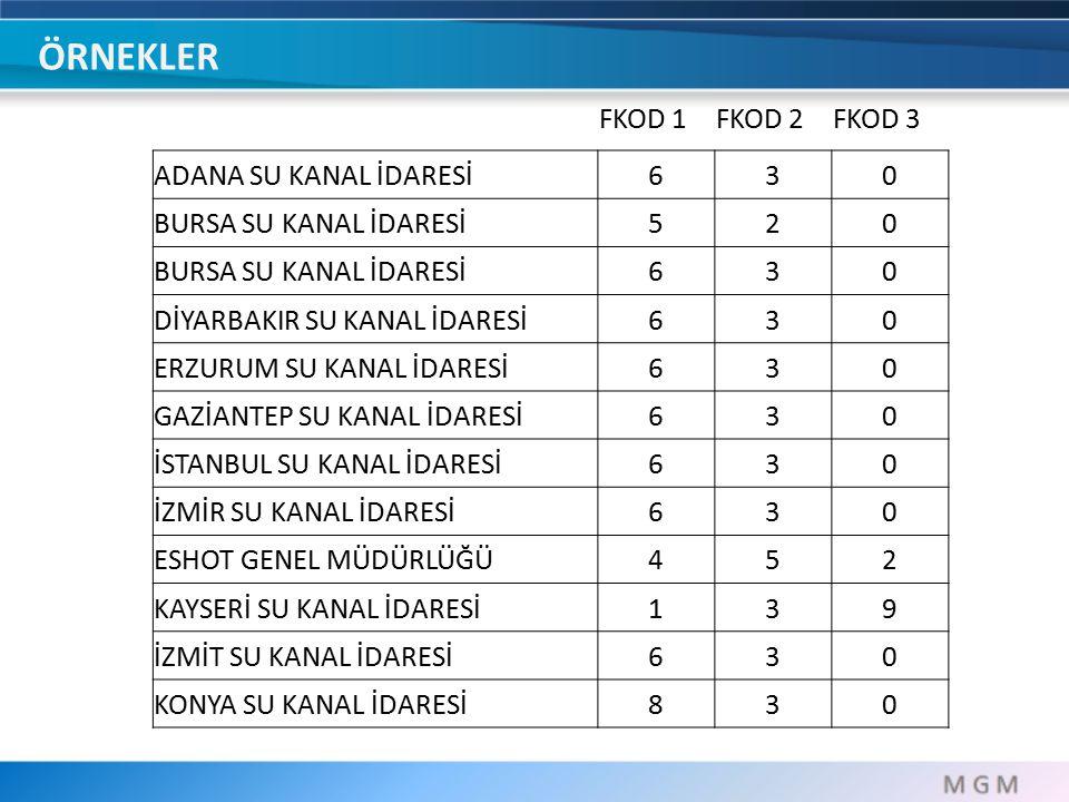 ÖRNEKLER FKOD 1 FKOD 2 FKOD 3 ADANA SU KANAL İDARESİ 6 3