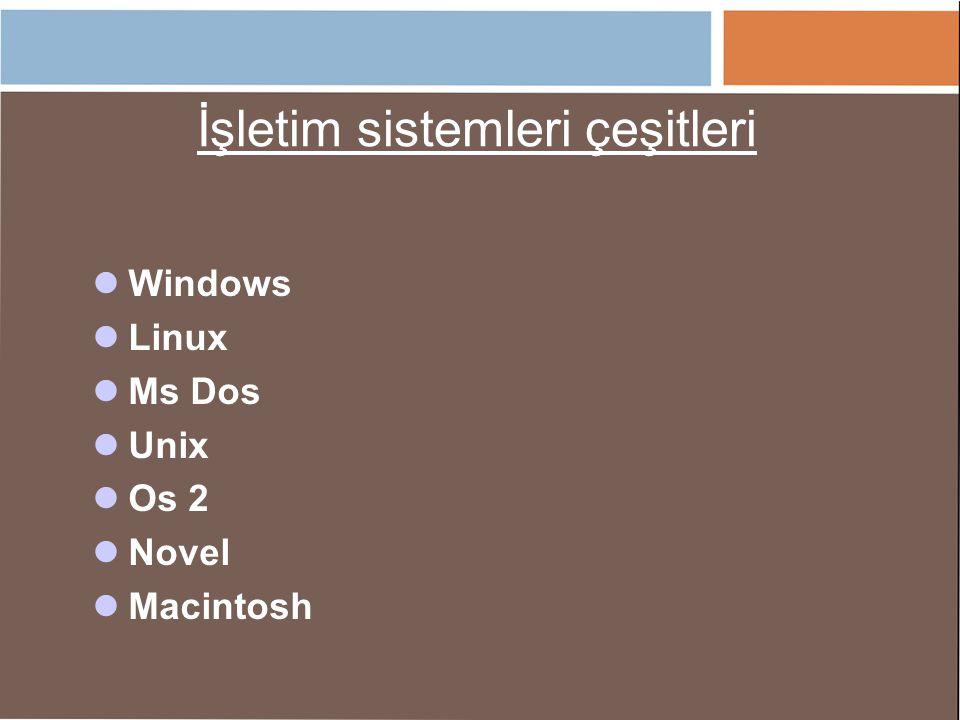 İşletim sistemleri çeşitleri