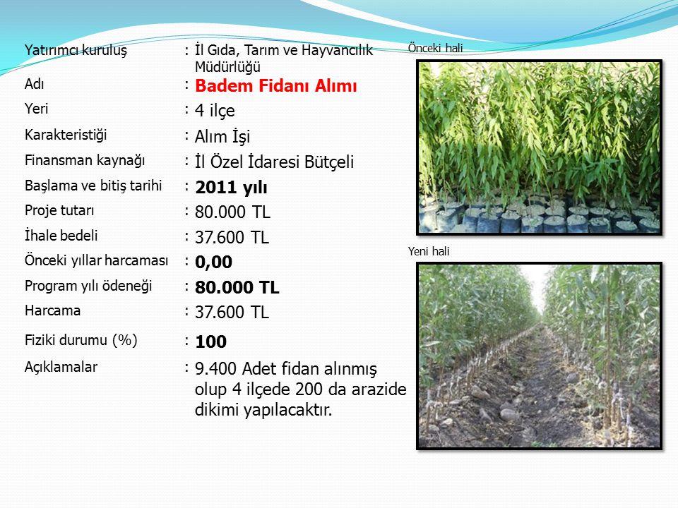 İl Özel İdaresi Bütçeli 2011 yılı 80.000 TL 37.600 TL 0,00