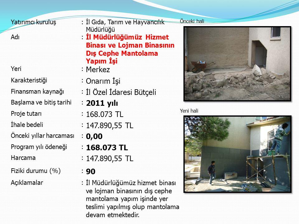 İl Özel İdaresi Bütçeli 2011 yılı 168.073 TL 147.890,55 TL 0,00
