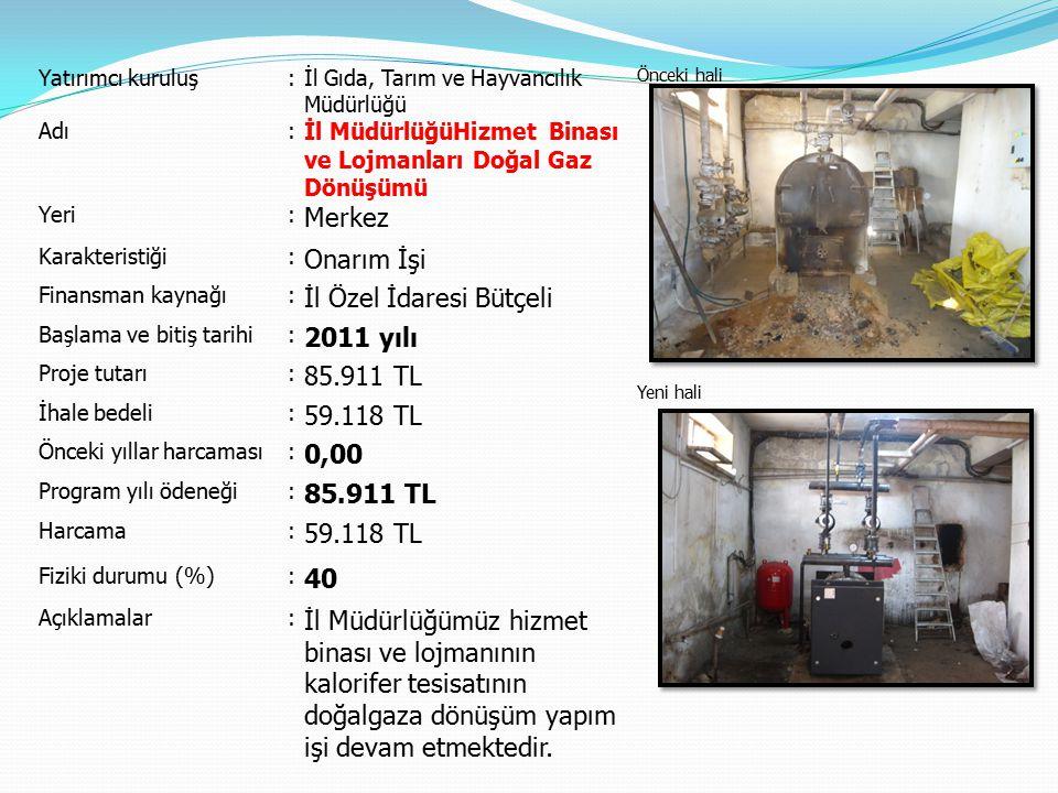 İl Özel İdaresi Bütçeli 2011 yılı 85.911 TL 59.118 TL 0,00