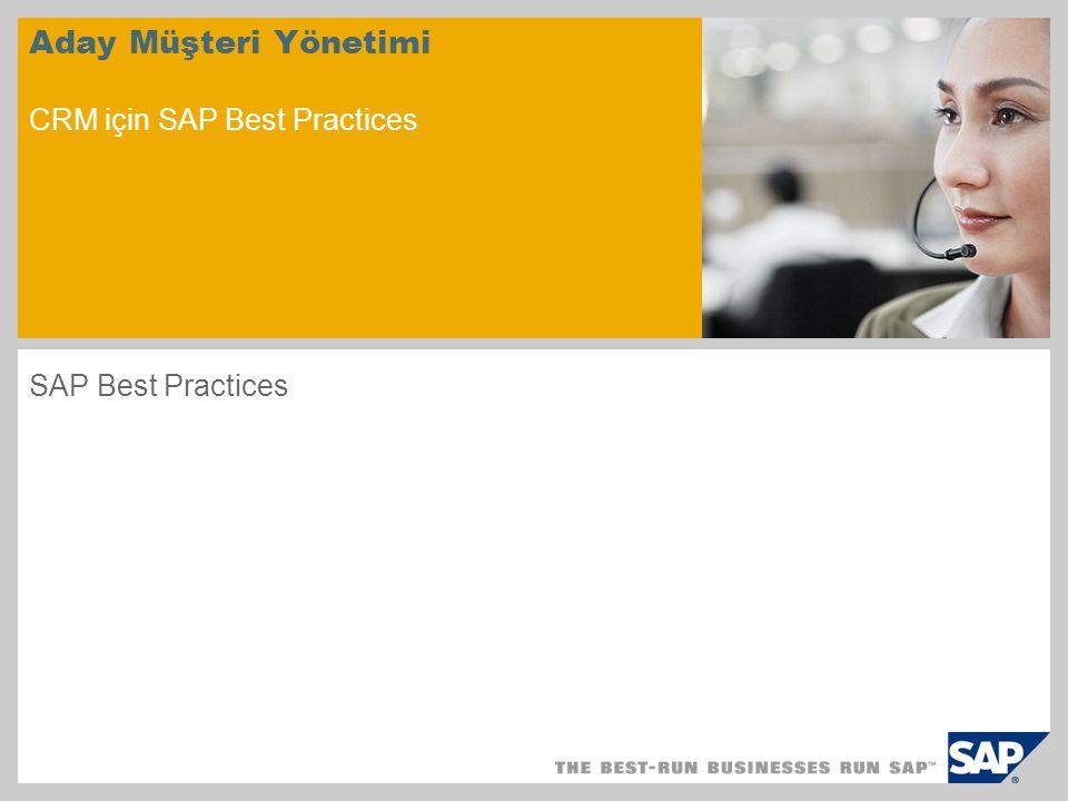 Aday Müşteri Yönetimi CRM için SAP Best Practices