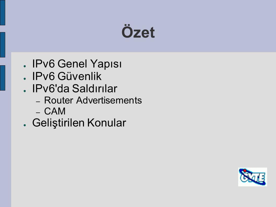 Özet IPv6 Genel Yapısı IPv6 Güvenlik IPv6 da Saldırılar