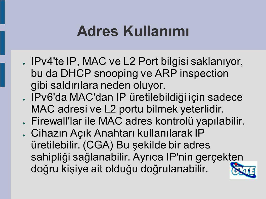 Adres Kullanımı IPv4 te IP, MAC ve L2 Port bilgisi saklanıyor, bu da DHCP snooping ve ARP inspection gibi saldırılara neden oluyor.