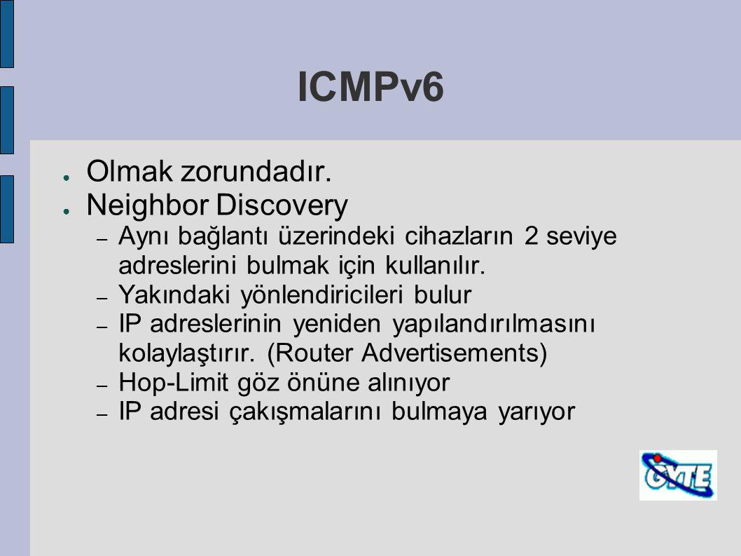 ICMPv6 Olmak zorundadır. Neighbor Discovery