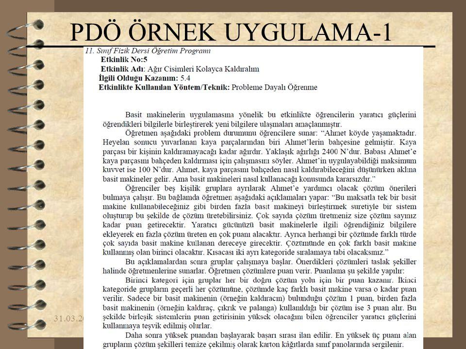 PDÖ ÖRNEK UYGULAMA-1 09.04.2017 Yrd.Doç.Dr. Fikret KORUR