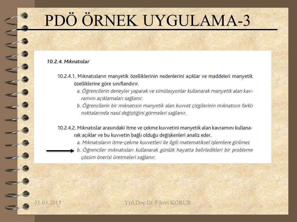 PDÖ ÖRNEK UYGULAMA-3 09.04.2017 Yrd.Doç.Dr. Fikret KORUR