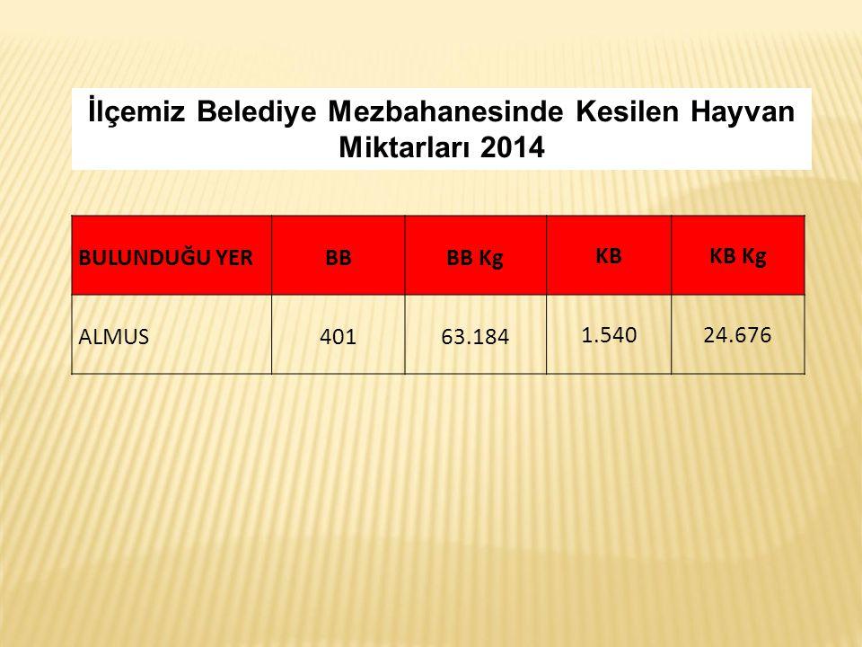 İlçemiz Belediye Mezbahanesinde Kesilen Hayvan Miktarları 2014