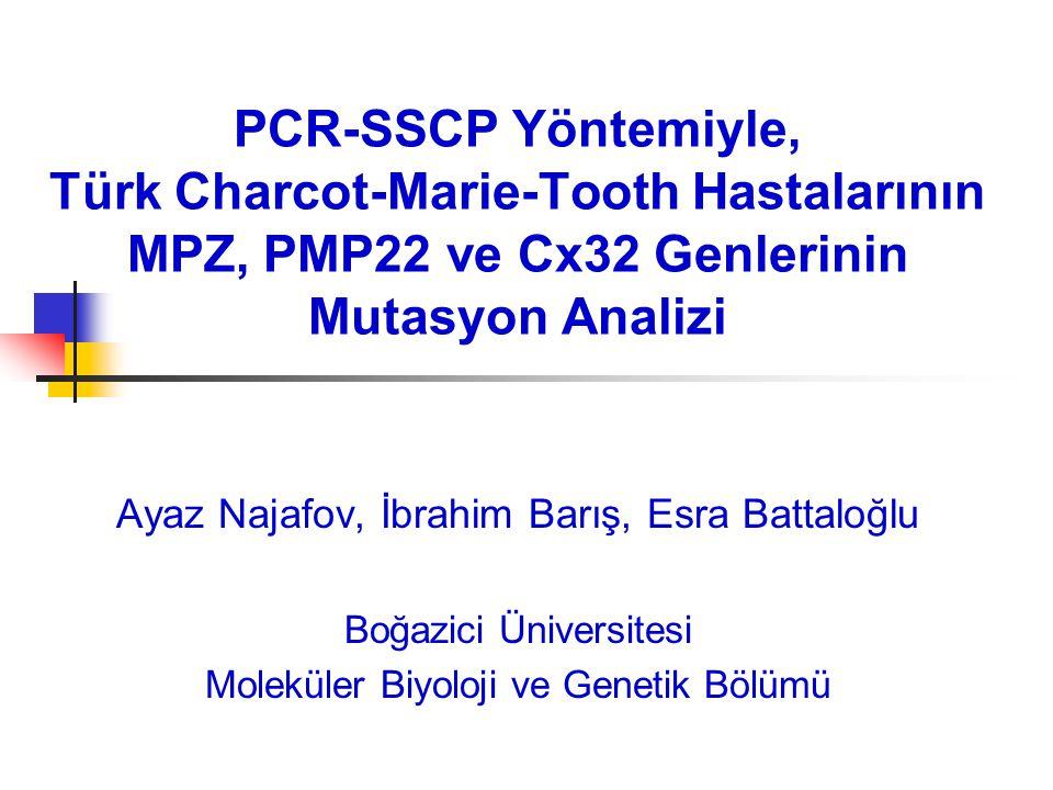 PCR-SSCP Yöntemiyle, Türk Charcot-Marie-Tooth Hastalarının MPZ, PMP22 ve Cx32 Genlerinin Mutasyon Analizi