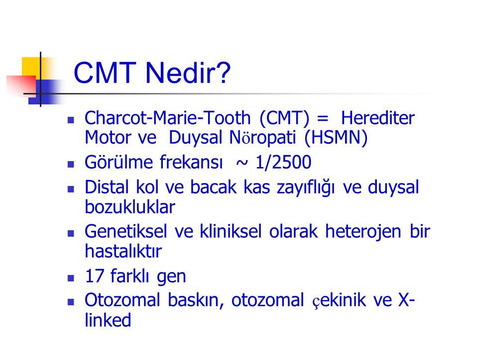 CMT Nedir Charcot-Marie-Tooth (CMT) = Herediter Motor ve Duysal Nöropati (HSMN) Görülme frekansı ~ 1/2500.
