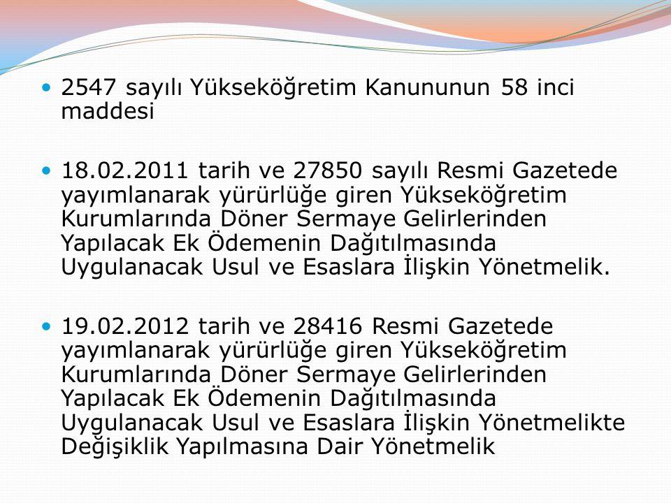 2547 sayılı Yükseköğretim Kanununun 58 inci maddesi