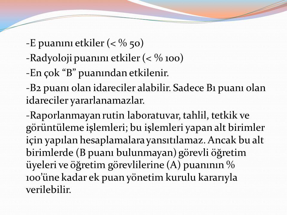 -E puanını etkiler (< % 50)