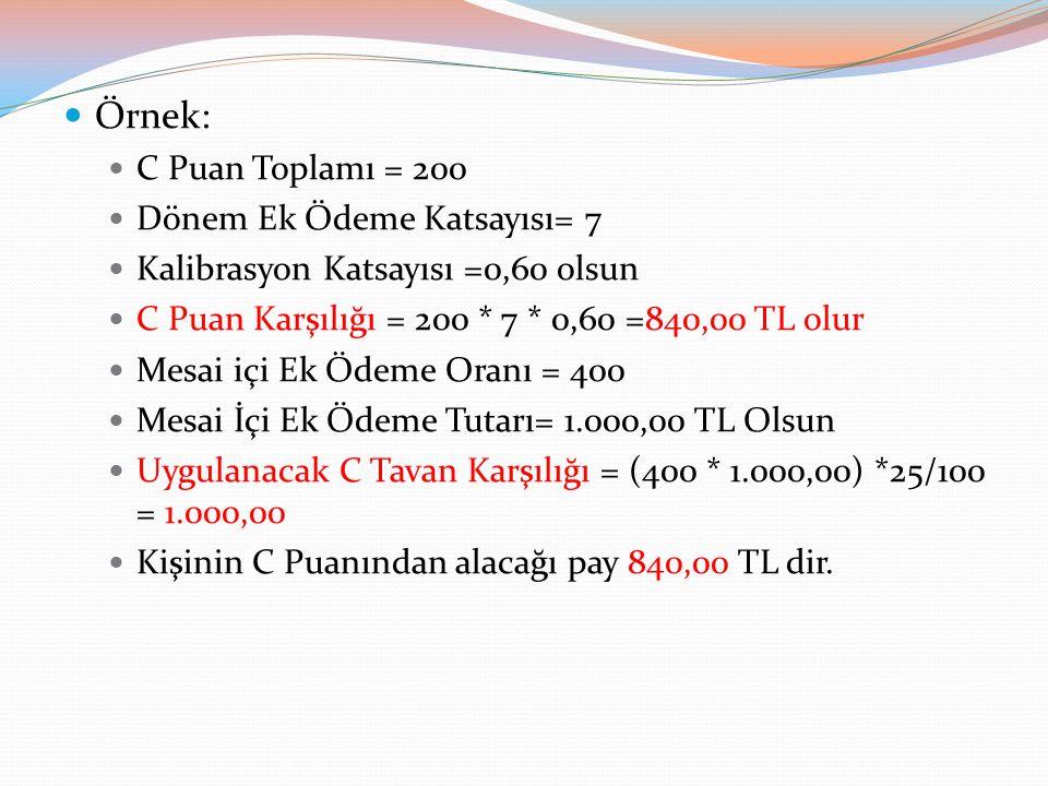 Örnek: C Puan Toplamı = 200 Dönem Ek Ödeme Katsayısı= 7
