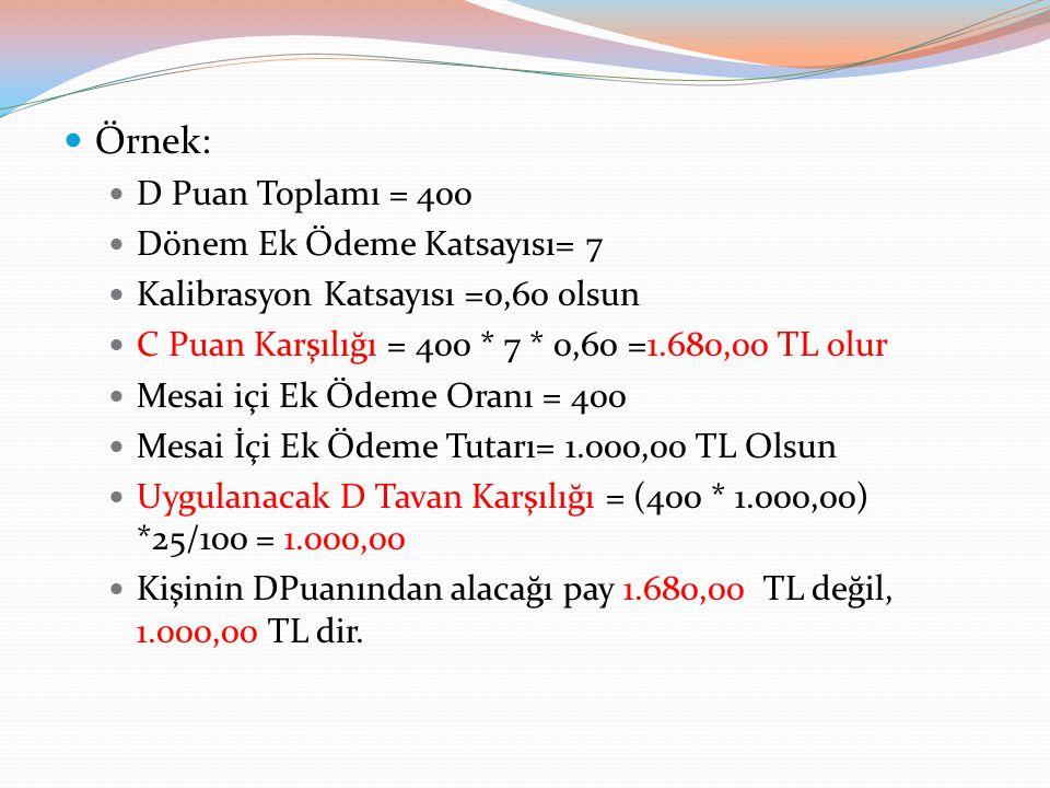Örnek: D Puan Toplamı = 400 Dönem Ek Ödeme Katsayısı= 7