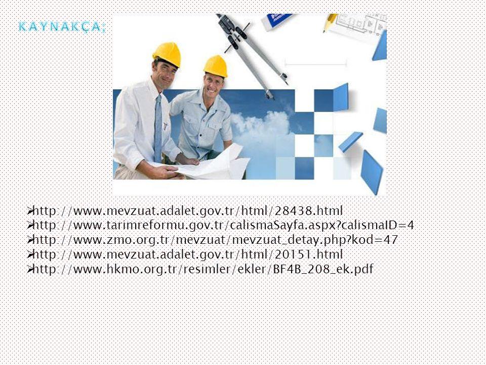 KAYNAKÇA; http://www.mevzuat.adalet.gov.tr/html/28438.html. http://www.tarimreformu.gov.tr/calismaSayfa.aspx calismaID=4.