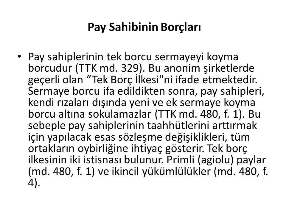 Pay Sahibinin Borçları