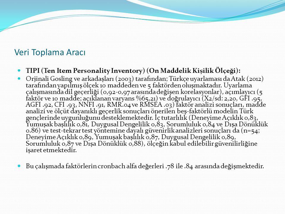 Veri Toplama Aracı TIPI (Ten Item Personality Inventory) (On Maddelik Kişilik Ölçeği):