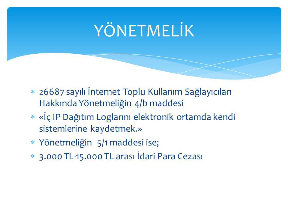 YÖNETMELİK 26687 sayılı İnternet Toplu Kullanım Sağlayıcıları Hakkında Yönetmeliğin 4/b maddesi.