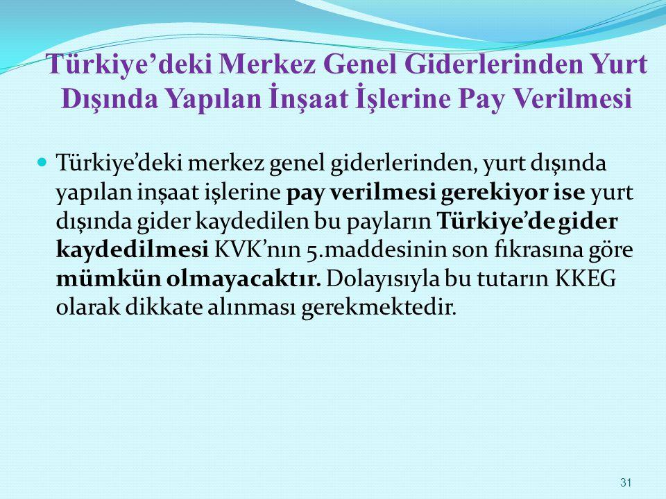 Türkiye'deki Merkez Genel Giderlerinden Yurt Dışında Yapılan İnşaat İşlerine Pay Verilmesi