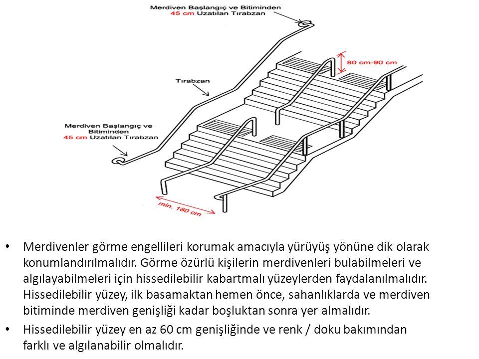 Merdivenler görme engellileri korumak amacıyla yürüyüş yönüne dik olarak konumlandırılmalıdır. Görme özürlü kişilerin merdivenleri bulabilmeleri ve algılayabilmeleri için hissedilebilir kabartmalı yüzeylerden faydalanılmalıdır. Hissedilebilir yüzey, ilk basamaktan hemen önce, sahanlıklarda ve merdiven bitiminde merdiven genişliği kadar boşluktan sonra yer almalıdır.