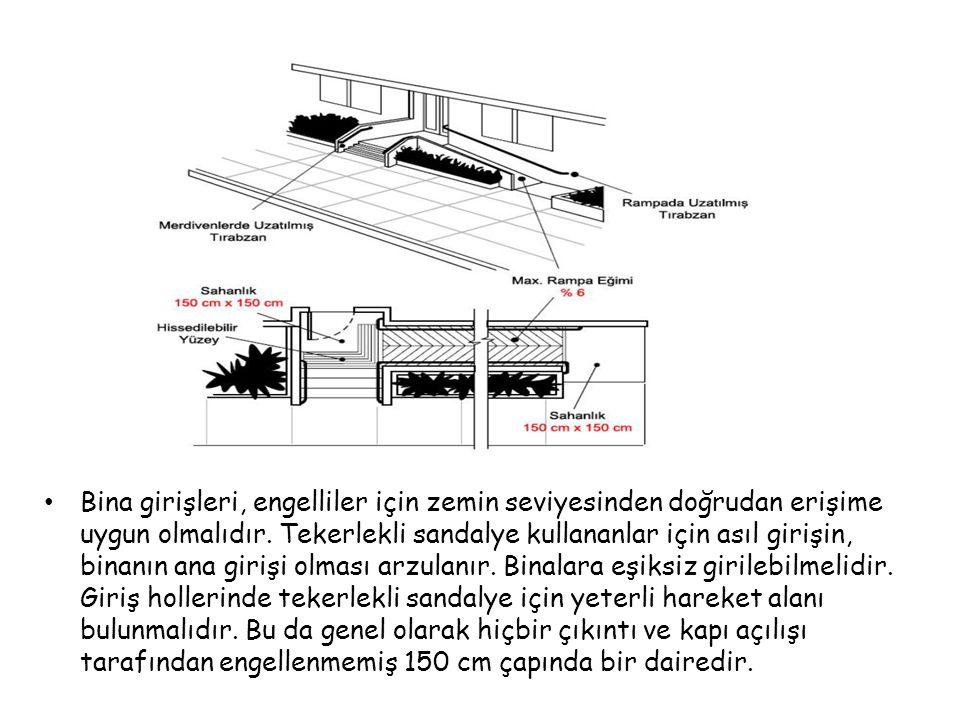 Bina girişleri, engelliler için zemin seviyesinden doğrudan erişime uygun olmalıdır.