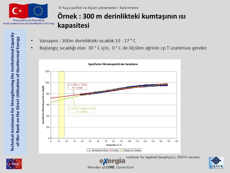 Örnek : 300 m derinlikteki kumtaşının ısı kapasitesi