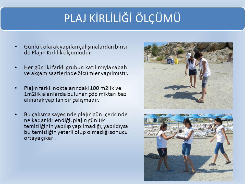 PLAJ KİRLİLİĞİ ÖLÇÜMÜ Günlük olarak yapılan çalışmalardan birisi de Plajın Kirlilik ölçümüdür.