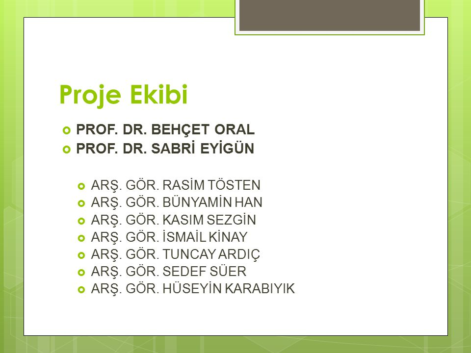Proje Ekibi PROF. DR. BEHÇET ORAL PROF. DR. SABRİ EYİGÜN