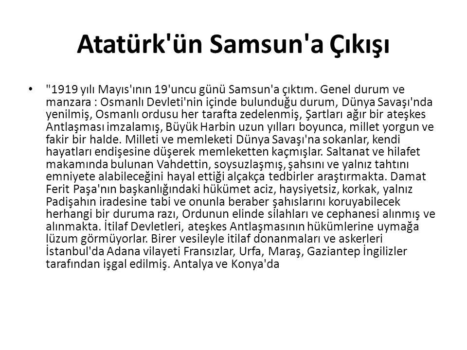 Atatürk ün Samsun a Çıkışı