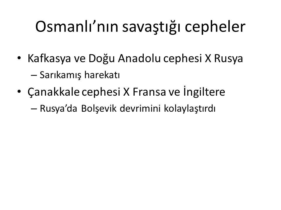 Osmanlı'nın savaştığı cepheler