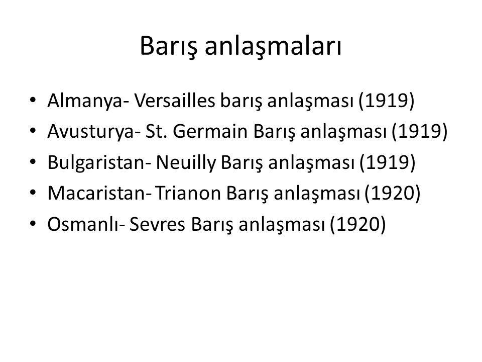 Barış anlaşmaları Almanya- Versailles barış anlaşması (1919)