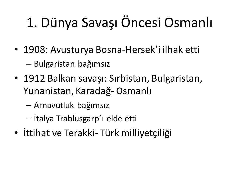 1. Dünya Savaşı Öncesi Osmanlı