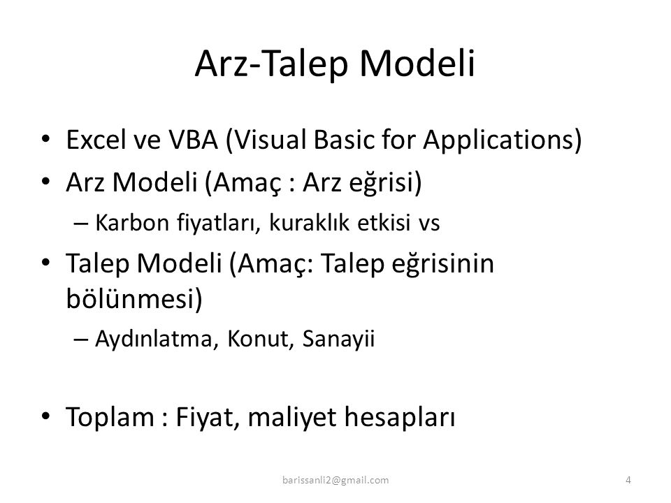 Arz-Talep Modeli Excel ve VBA (Visual Basic for Applications)