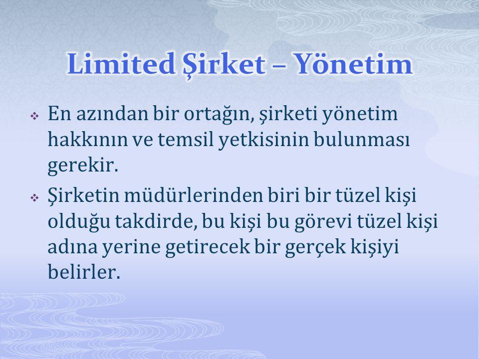 Limited Şirket – Yönetim