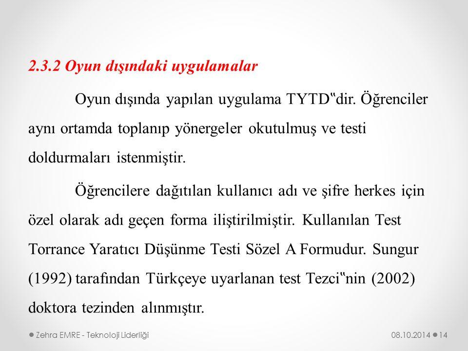 """2.3.2 Oyun dışındaki uygulamalar Oyun dışında yapılan uygulama TYTD""""dir. Öğrenciler aynı ortamda toplanıp yönergeler okutulmuş ve testi doldurmaları istenmiştir. Öğrencilere dağıtılan kullanıcı adı ve şifre herkes için özel olarak adı geçen forma iliştirilmiştir. Kullanılan Test Torrance Yaratıcı Düşünme Testi Sözel A Formudur. Sungur (1992) tarafından Türkçeye uyarlanan test Tezci""""nin (2002) doktora tezinden alınmıştır."""