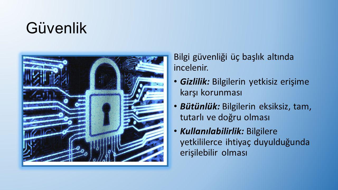 Güvenlik Bilgi güvenliği üç başlık altında incelenir.