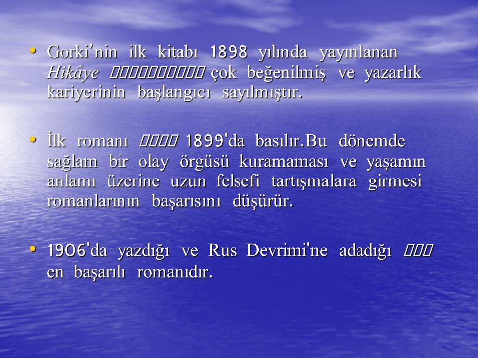 Gorki'nin ilk kitabı 1898 yılında yayınlanan Hikâye Denemeleri çok beğenilmiş ve yazarlık kariyerinin başlangıcı sayılmıştır.