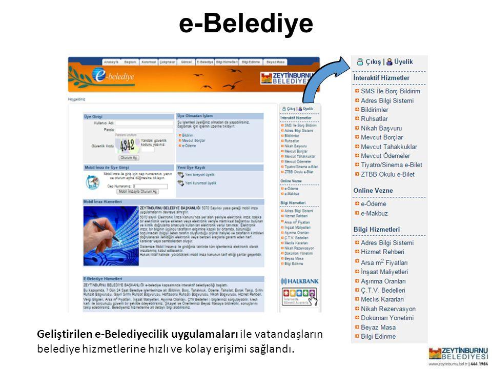e-Belediye Geliştirilen e-Belediyecilik uygulamaları ile vatandaşların belediye hizmetlerine hızlı ve kolay erişimi sağlandı.