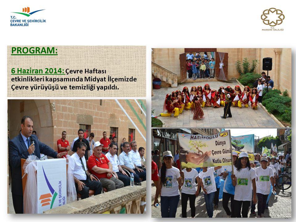 PROGRAM: 6 Haziran 2014: Çevre Haftası