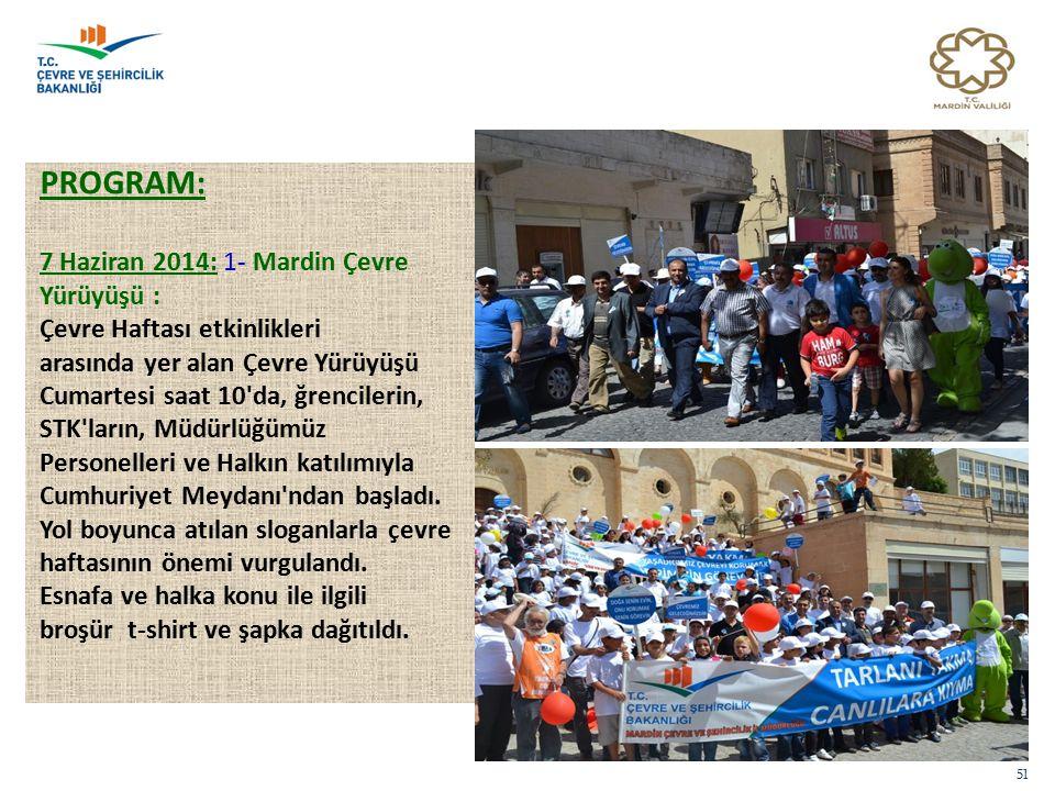 PROGRAM: 7 Haziran 2014: 1- Mardin Çevre Yürüyüşü :