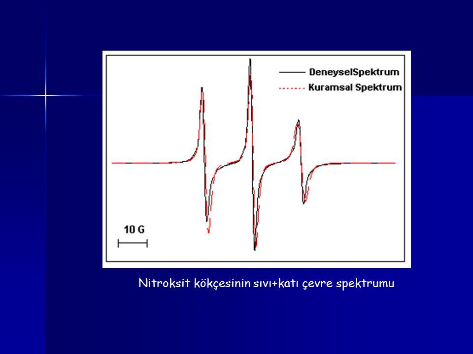 Nitroksit kökçesinin sıvı+katı çevre spektrumu