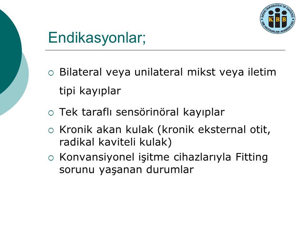Endikasyonlar; Bilateral veya unilateral mikst veya iletim tipi kayıplar. Tek taraflı sensörinöral kayıplar.