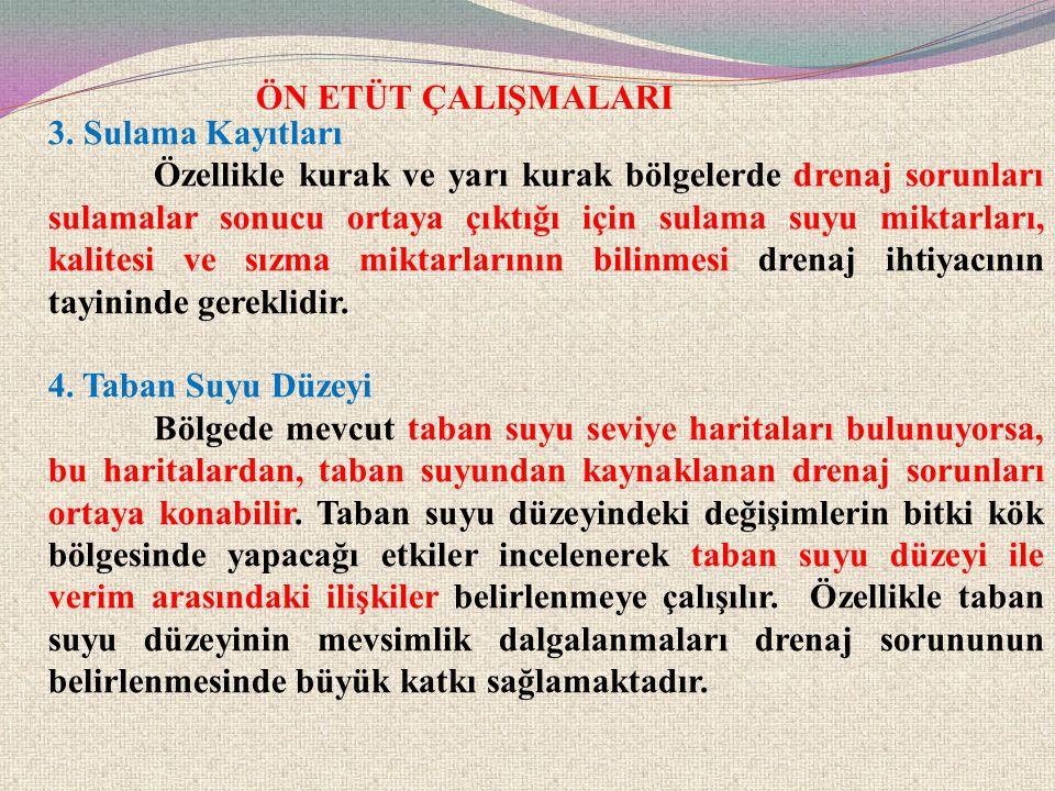 ÖN ETÜT ÇALIŞMALARI 3. Sulama Kayıtları.