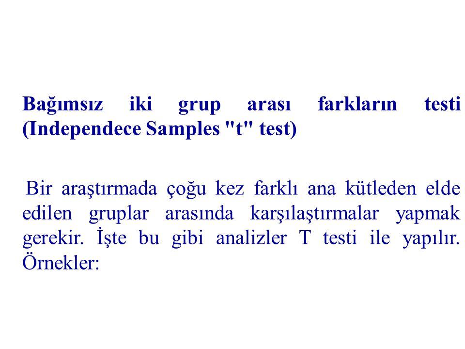 Bağımsız iki grup arası farkların testi (Independece Samples t test)