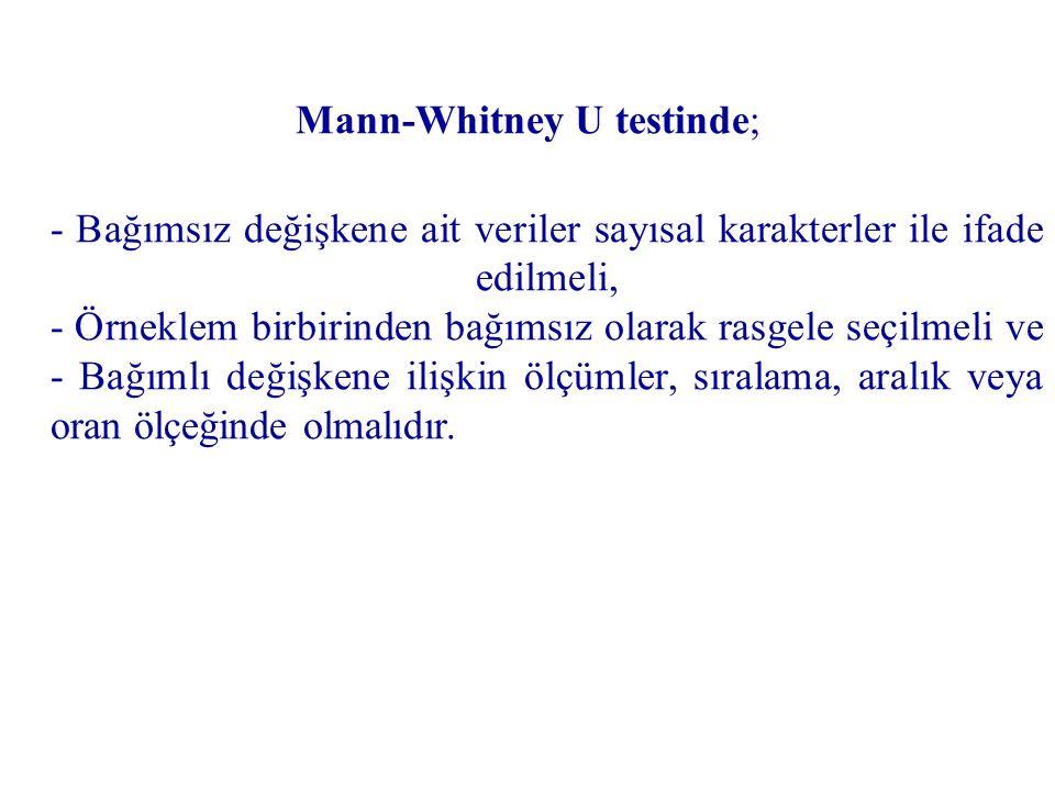 Mann-Whitney U testinde;