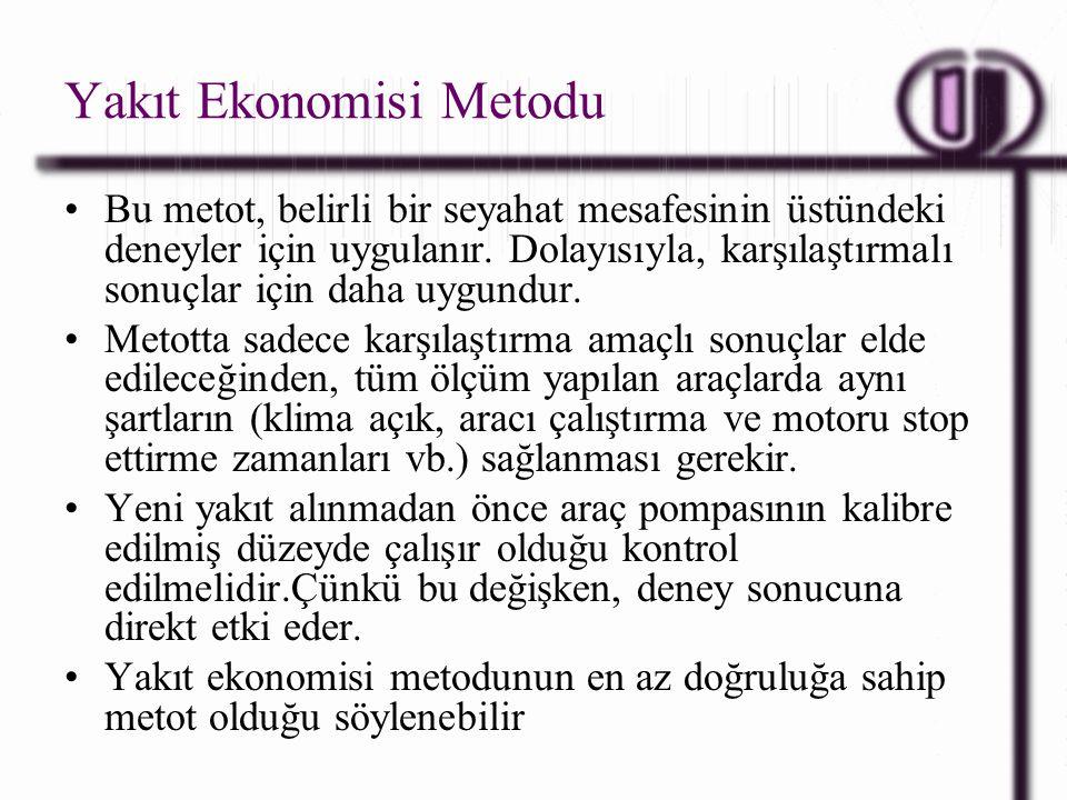 Yakıt Ekonomisi Metodu